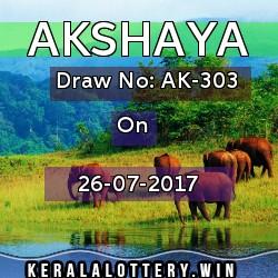 Akshaya LOTTERY NO. AK-303rd DRAW held on 26/07/2017