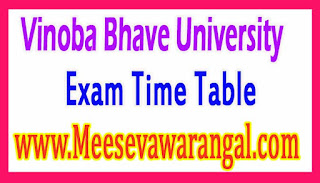 Vinoba Bhave University MBA IIIrd Sem (2015-17) Under CBCS Revised Exam Time Table