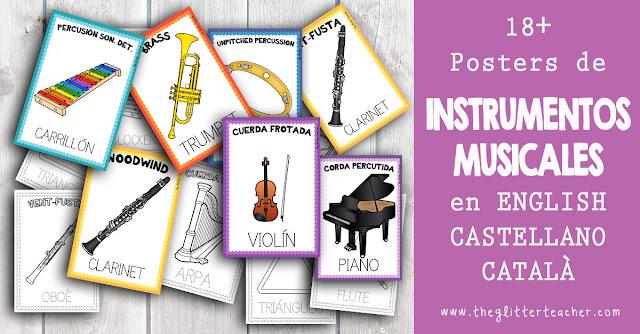 Posters de instrumentos musicales y sus familias en inglés, castellano y catalán en color y blanco y negro