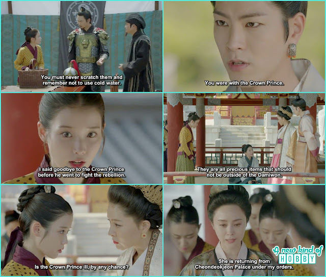 queen yoo ask hae soo if she is taking care of crown prince or he had any kind of disease but the royal concubine help hae soo - Moon Lover Scarlet Heart Ryeo - Episode 8 - Review