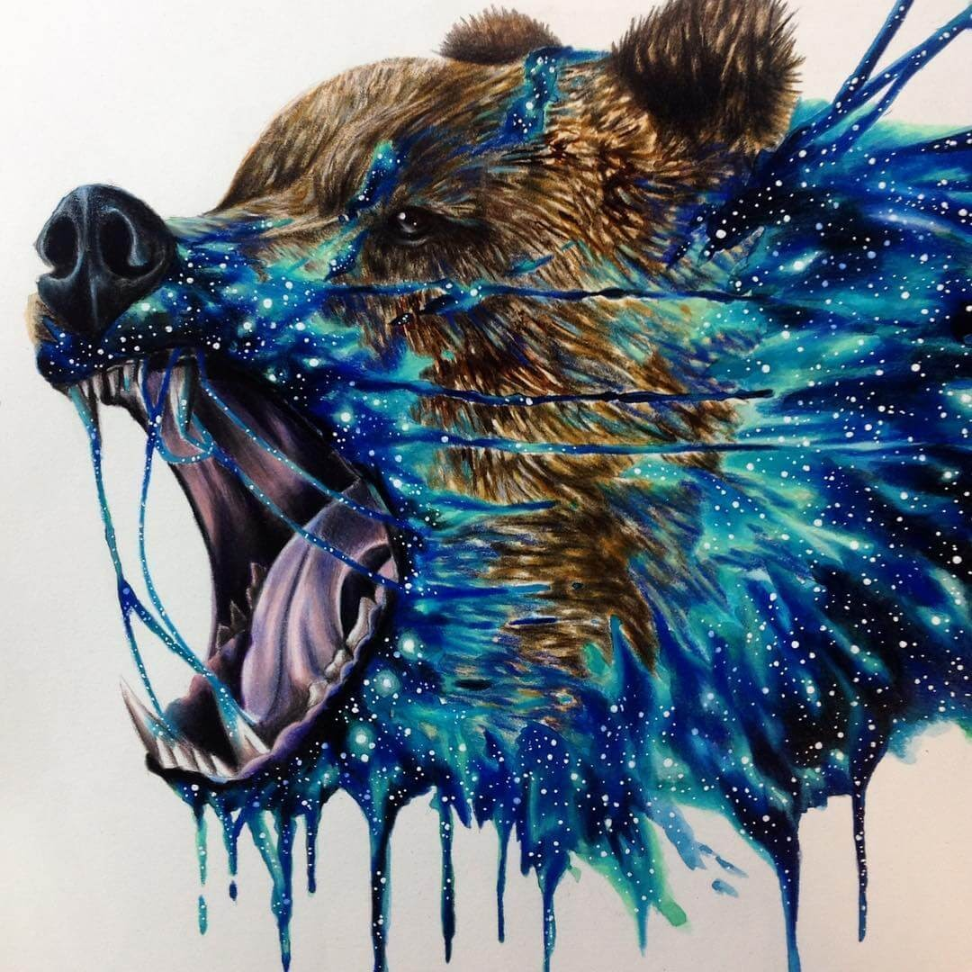 03-Space-Bear-Estefani-Barbosa-Fantasy-Animals-in-Pencil-Drawings-www-designstack-co
