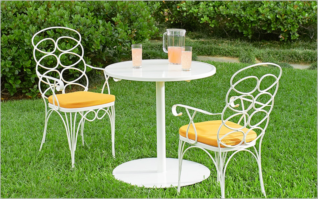 White Wrought Iron Outdoor Furniture Part - 33: White Wrought Iron Chairs With A Small Round Table For Patio Outdoor