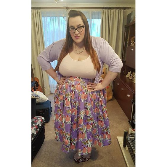 Jenny Skirt in Mary Blair Lips and Roses Print in Lavender