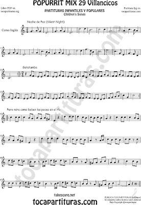 Partitura de Corno Inglés Popurrí Mix Villancicos Noche de Paz, Gatatumba y Pero Mira como Beben los Peces en el Río Sheet Music for English horn