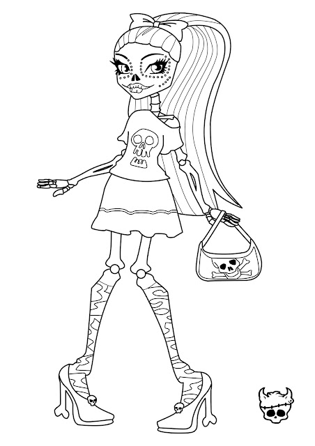 MONSTER HIGH SKELITA CALAVERAS COLORING PAGES