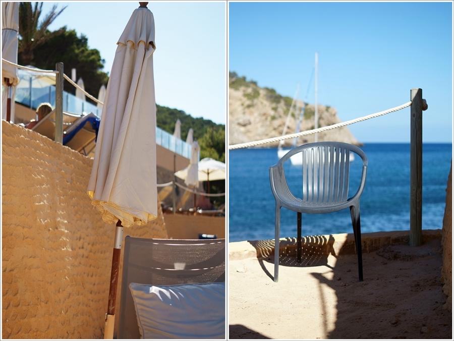 Blog + Fotografie by it's me fim.works - Collage La Isla Blanca Ibiza, Cala Llonga, Stuhl auf der Sonnenterrasse