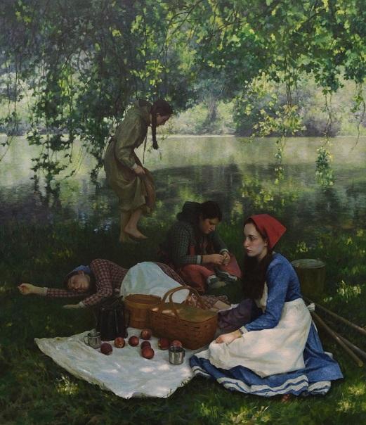 "by Benjamin Wu, ""Resting"" - oil on linen | pinturas, obras de arte, imagenes bellas de paisajes, american art."