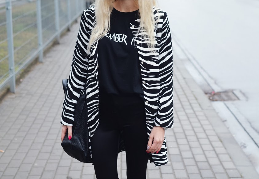 ZEBRA PRINTED COAT, 'REMEMBER YVES?' TEE & DISCO PANTS