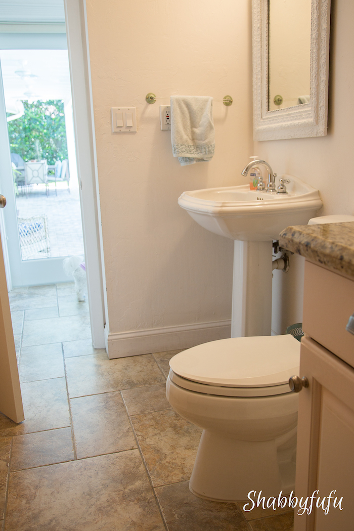 pedestal sink pool bathroom