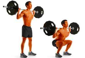 Free squat with barbell on the trapezius muscle.