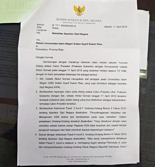 KASN Surati Rektor UIN Riau Agar Tegur UAS karena Dukung Prabowo
