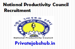 National Productivity Council Recruitment