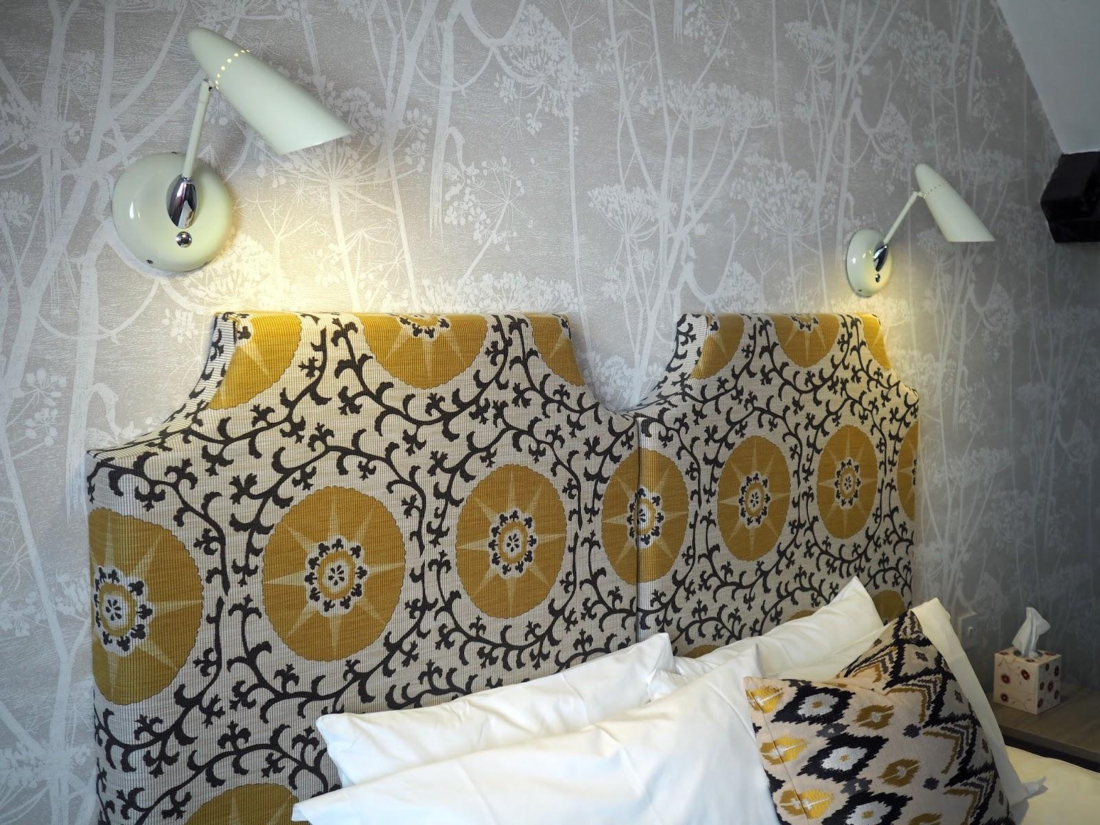 Hotel suite bedroom at Monk Bar Hotel, York, soft furnishings