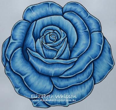 Elizabeth Whisson, Alshandra, wedding, rose, blue rose, copic, Kit and Clowder