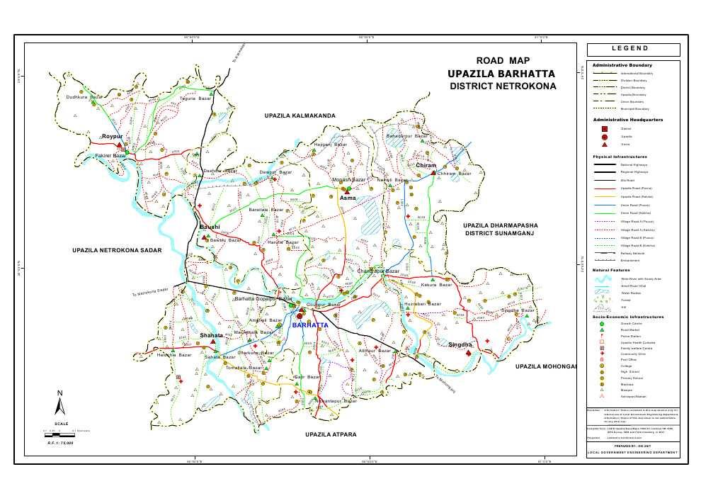 Barhatta Upazila Road Map Netrokona District Bangladesh