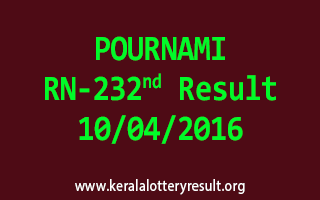 POURNAMI RN 232 Lottery Result 10-4-2016