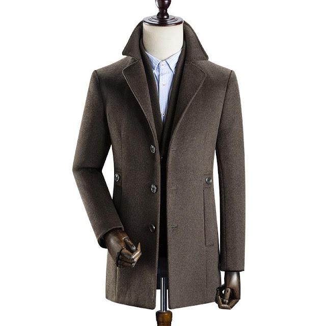 Men's British Single Breasted Slim Wool Coat