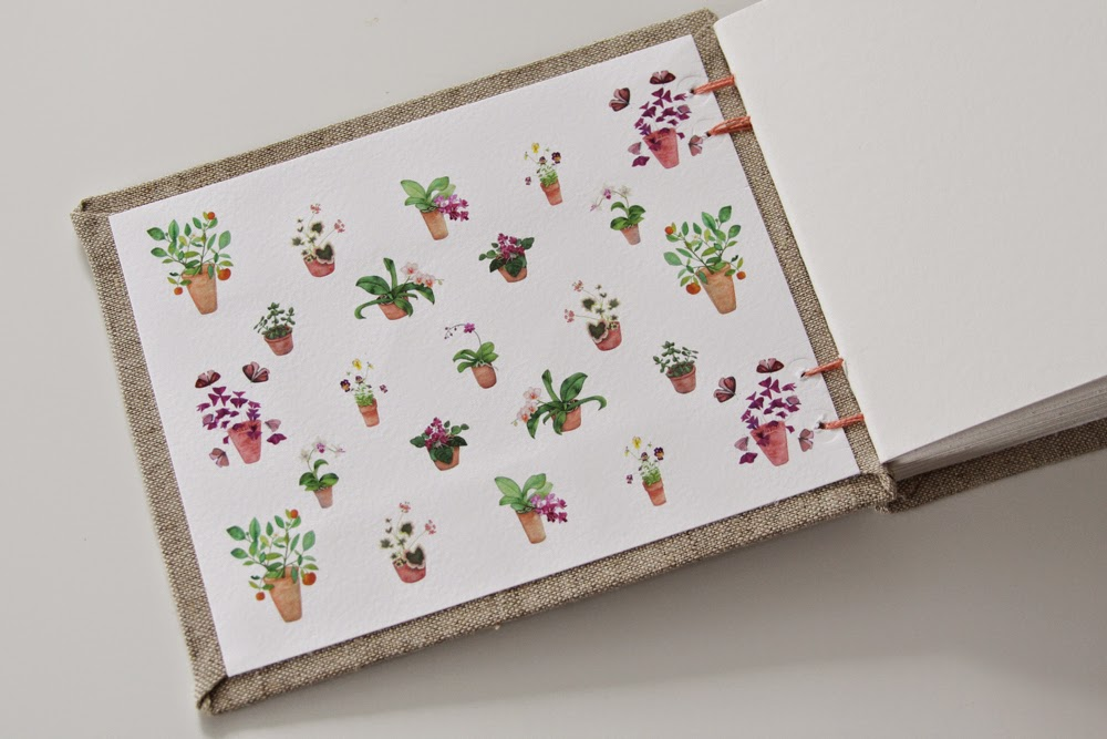 watercolor potted plant endpapers