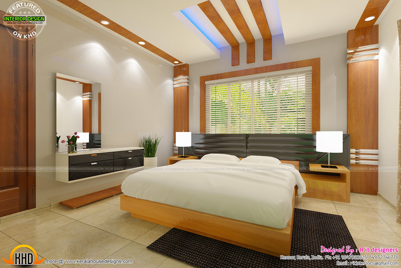 House ceiling design in kerala front design for Beautiful bedroom interior