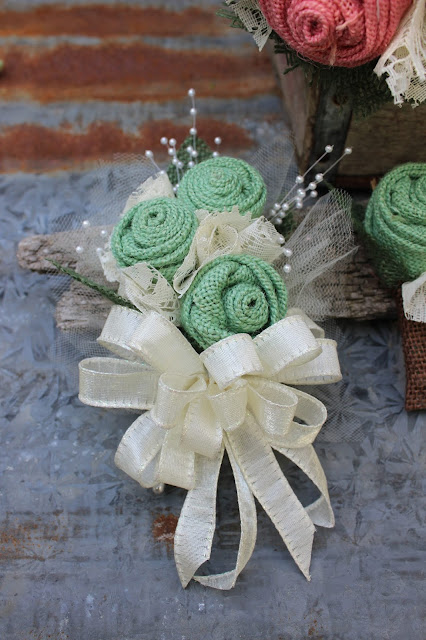 mother's corsage in mint and ivory