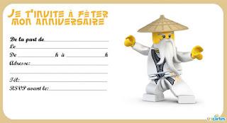 Carte anniversaire ninjago gratuite à imprimer