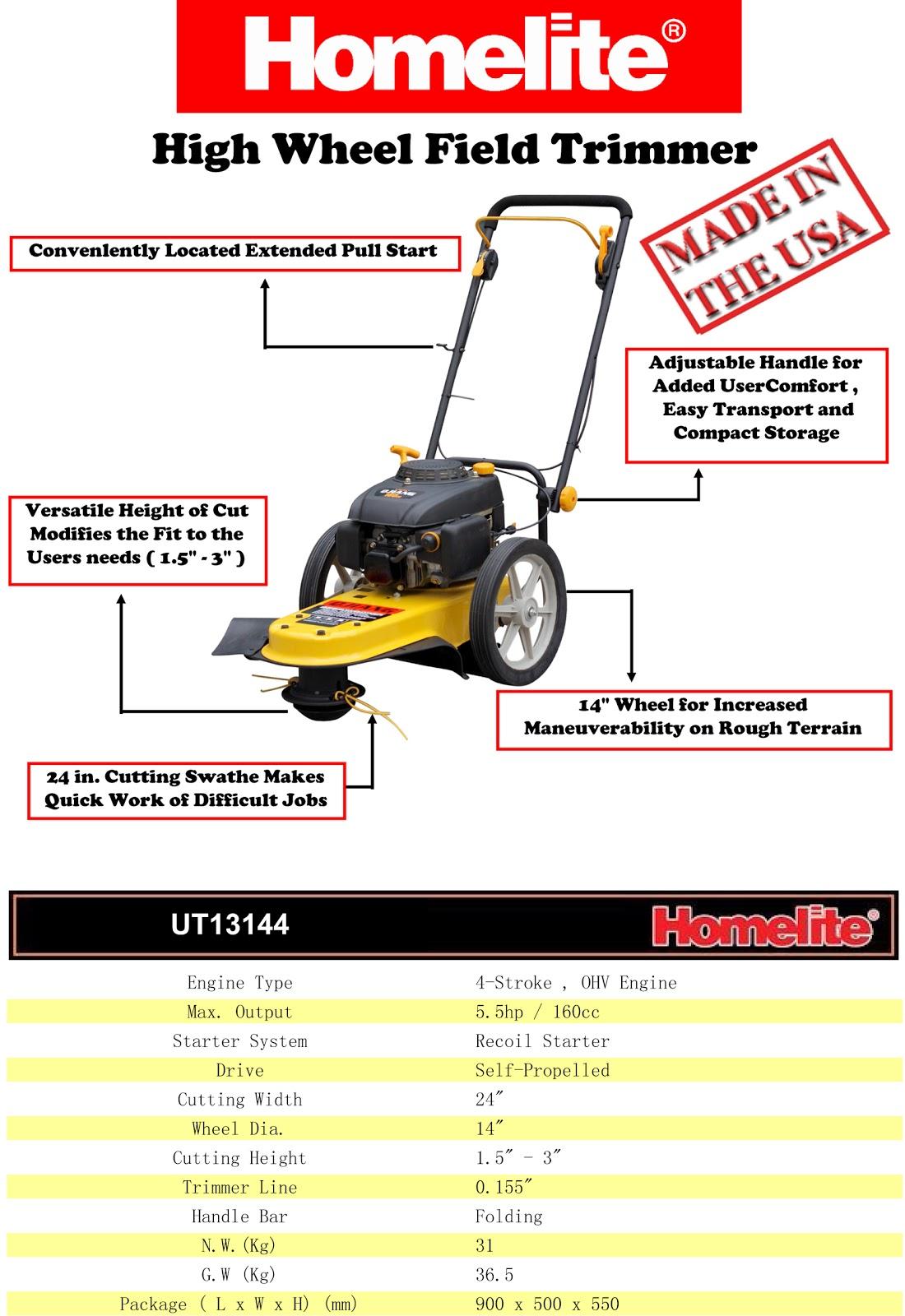 Homelite Trimmer Ut13144 Service Manual
