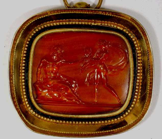 Η Λειριόπη ζητά από τον Τειρεσία να προφητεύσει για τον Νάρκισσο. Δαχτυλίδι.  Utah 091652deb31