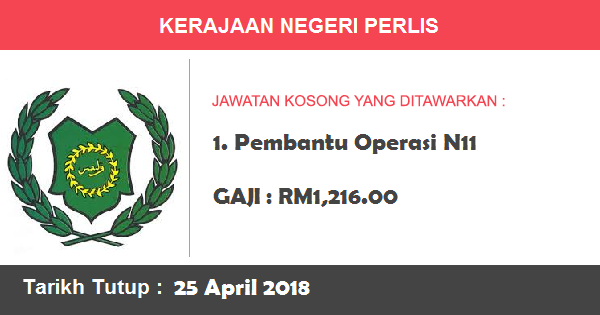 Job in Pejabat Setiausaha Kerajaan Negeri Perlis, Kuala Lumpur (25 April 2018)