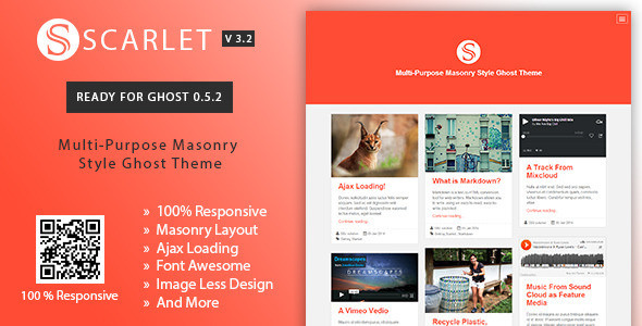 Download Scarlet v3.2 Multi-Purpose Masonry Style Ghost Theme
