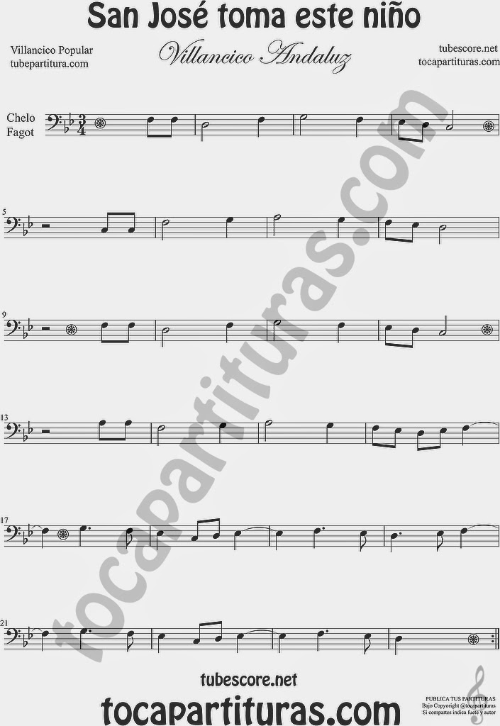 San José toma este niño  Partitura de Violonchelo y Fagot Sheet Music for Cello and Bassoon Music Scores