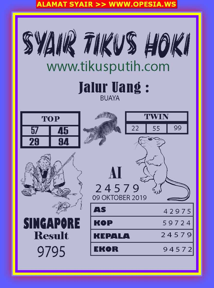 Kode syair Singapore Rabu 9 Oktober 2019 42