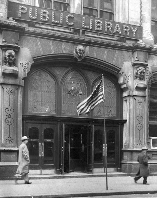 The library's main entrance.