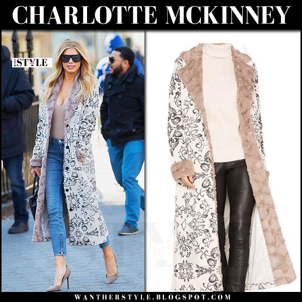 Charlotte McKinney in fur collar printed coat, skinny jeans and suede pumps what she wore streetstyle