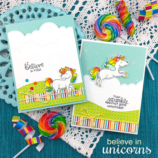 Unicorn Cards by Jennifer Jackson | Believe in Unicorns Stamp Set & Sky Borders Die set by Newton's Nook Designs #newtonsnook