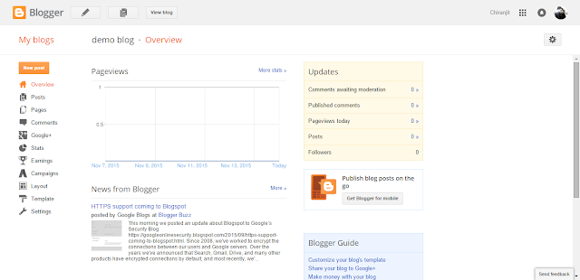 blogger dashboard allow you to change and customised your blog content