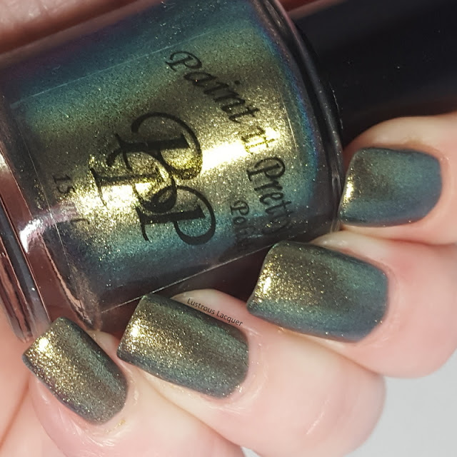 green to gold duo chrome nail polish