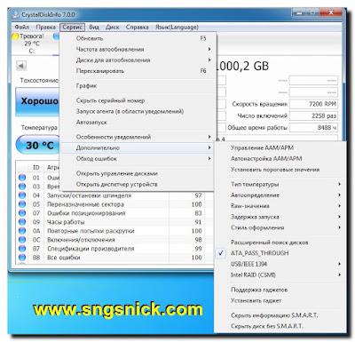 CrystalDiskInfo 7.0.5 Final - Сервис - дополнительные параметры