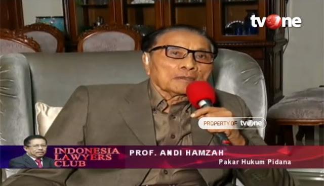 Prof. Andi Hamzah di ILC: Potret Hukum Saat Ini Luar Biasa Buruknya, Paling Buruk Dalam Sejarah RI