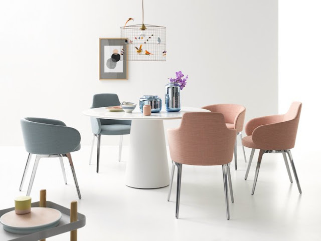 Dining Room Chairs Design With Metal Frame in Gray and Pink