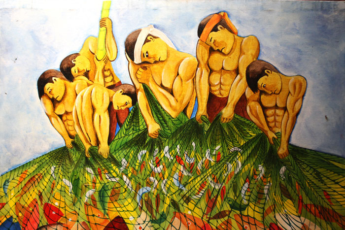 FISHERMEN. A painting depicting the common livelihood in Palawan is displayed in Kalui's gallery.