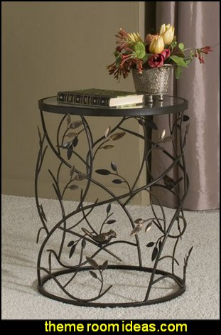 Large Leaves Metal Barrel End Table