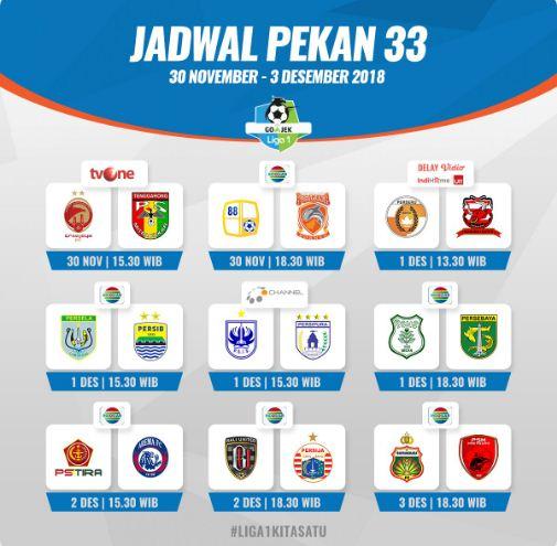 Jadwal Siaran Langsung Liga 1 2018 Pekan 33