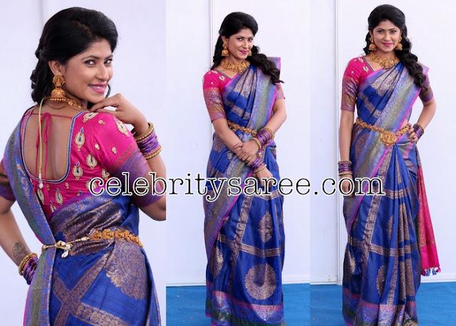 Neha Chowdary Blue Silk Saree