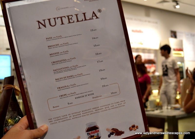 Nutella Bar menu in Eataly Dubai