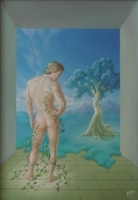 Enrique Nieto arte surrealista hombre desnudo de espaldas