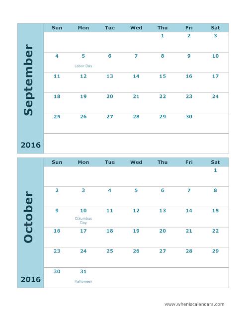 September October 2 Months Printable Calendar 2016, September October Calendar 2016, September October Calendar, September October 2 Months Calendar 2016, September October 2 Months Calendar