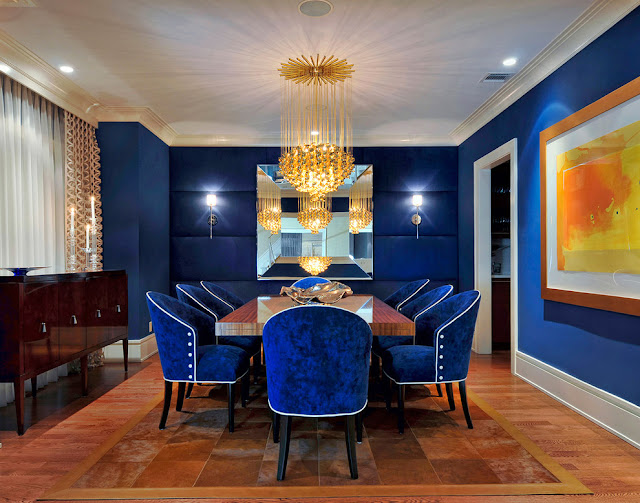 fabulous dark blue dining room chairs with polished laminate wood dining table and beautiful crystal chandelier