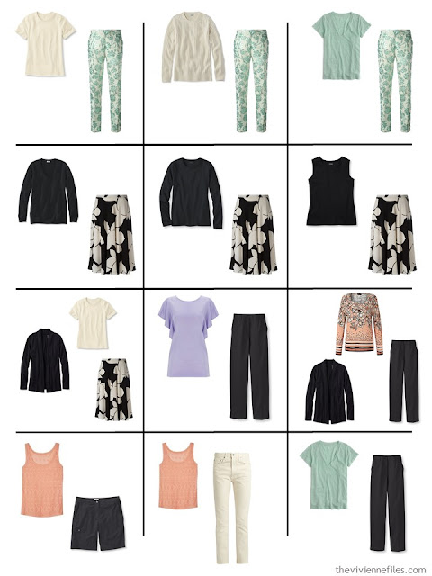 12 outfits taken from a 4 by 4 wardrobe in black, ivory and pastels