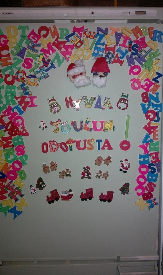 jääkaapin ovi jouluinen joulutaulu
