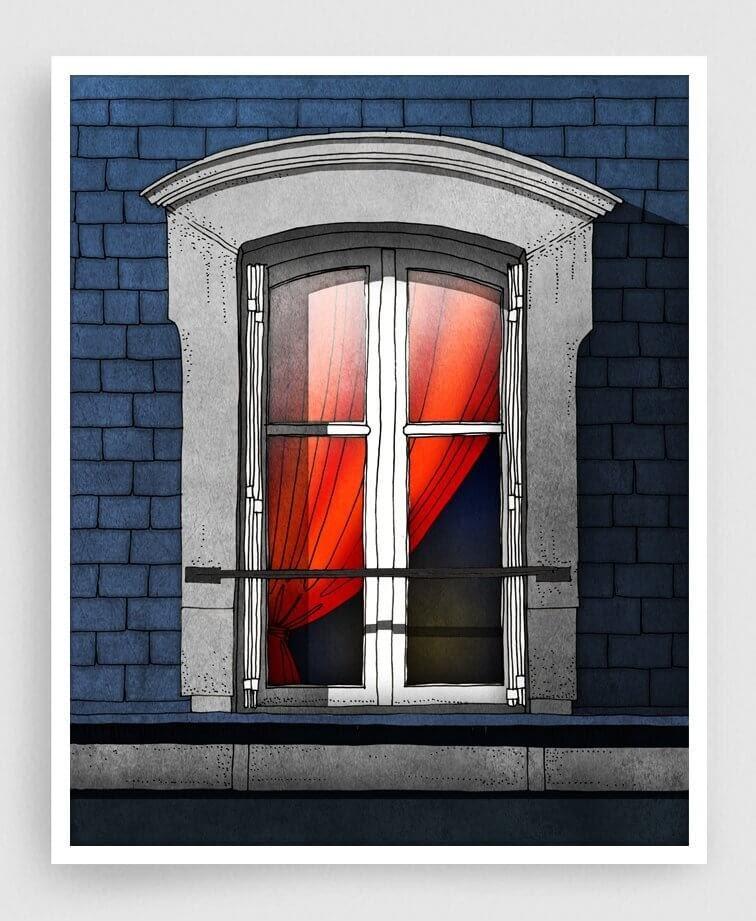 01-The-Red-Curtain-Brigitta-Paris-Illustrations-Colorful-Architecture-www-designstack-co